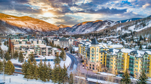 Vail, Colorado, USA Drone Village Skyline Aerial