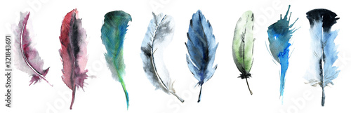 Photo watercolor set of colorful feathers