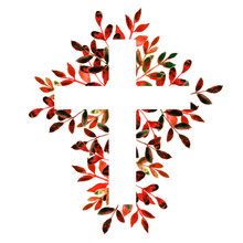 Red And Black Hand Drawn Floral Watercolor Cross On White Background. Religious Foliage Illustration For Easter, Christian, Baptism, And First Communion Designs. Frame.