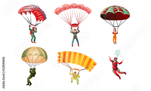 Fototapeta Set of different colorful skydivers