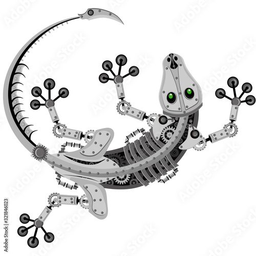 Vector lizard robot. Mechanical reptile on a white isolated background. Wall mural