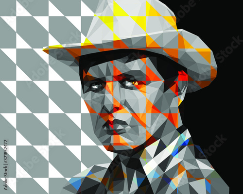 Obraz na plátně A young man in a cowboy hat is drawn in a low polygon technique