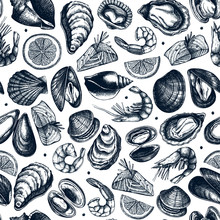 Vector Seafood Seamless Patter...