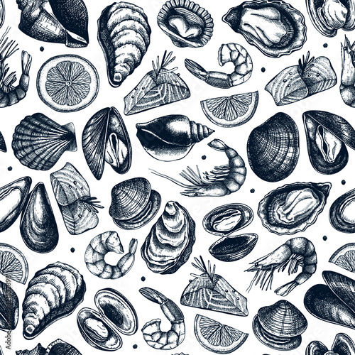Vector seafood seamless pattern Canvas-taulu