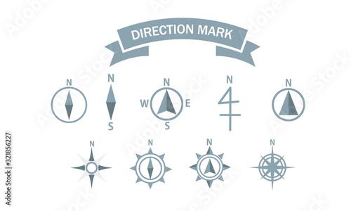 Fotografiet 地図 シンボル 方位記号  方位マーク 方位図 方位 羅針盤 アイコン セット シンプル ベクター イラスト  vector map symbol direct