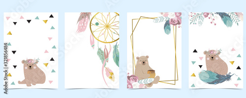 Pink green gold geometry baby shower invitation with bear,rose,flower,feather. Vector birthday invitation for kid and baby.Editable element