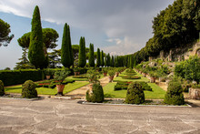 Rome 8 March 2020. The Vatican Gardens Of The Papal Residence, Well-kept Fountains And Trees.