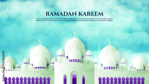 Stampa su Tela Background of Ramadan Kareem with illustrations of the white mosque in the morning