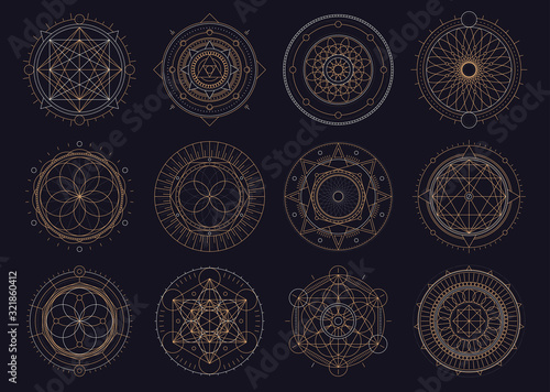 Vector set of sacred geometric figures, dreamcatcher and mystic symbols, golden Canvas Print