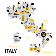 Stylized Map Of Italy With Main Attractions, Landmarks And Cultural Symbols
