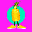 canvas print picture - Contemporary art collage.  Funny puppet Pineapple street style. Zine design