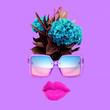 canvas print picture - Contemporary art collage.  Stylish sunglasses accessories concept.