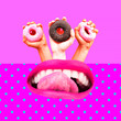 canvas print picture - Contemporary art collage.  Donut lover. Minimal zine design