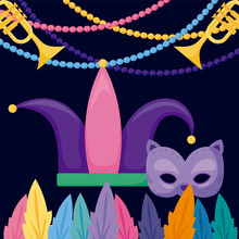 Mardi Gras Cat Mask And Hat Wi...