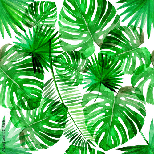 Fototapety, obrazy: Tropical green beach summer palm leaf pattern set watercolor illustrated