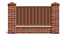 A Brick Fence Made Of Bricks With A Metal Profile.
