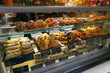 meat snacks, sandwiches on display in an Italian store or bar