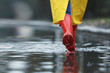 Leinwanddruck Bild Woman in rubber boots walking outdoors on rainy day, closeup. Space for text