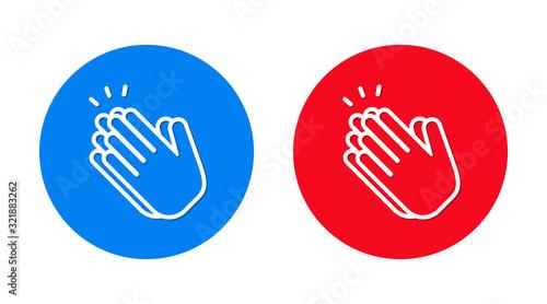 Hands clap icon flat trendy round button set Canvas Print