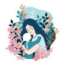 Happy Mother's Day. Woman Hugs Her Little Daughter . Vector Cute Flat Illustration