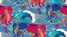 Seamless Pattern. Dragon And Nautical Theme - Fish, Octopuses, Ancient Ships. Vector Illustration