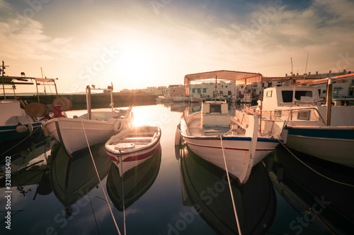 Panoramic view of Paros island popular tourist attraction, Naousa town Wallpaper Mural