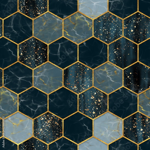 Tapety złote  marble-hexagon-seamless-texture-with-gold-abstract-background