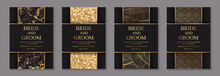 Set Of Modern Luxury Wedding Invitation Design Or Card Templates For Business Or Poster Or Greeting With Golden Marble, Glitter, Feathers And Arabic Ornament On A Black Background.