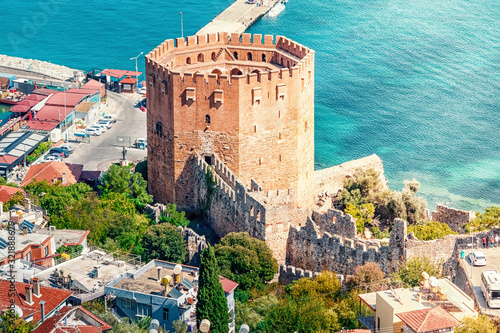 Kizil Kule or Red Tower in Alanya, Antalya, Turkey Canvas Print