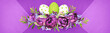 canvas print picture - Background with purple papers and Easter composition