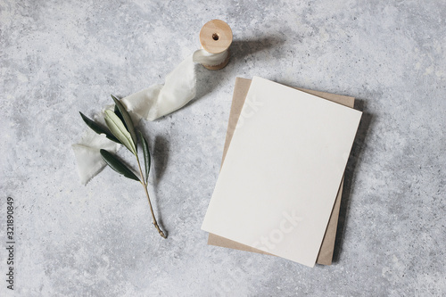 Feminine wedding stationery, desktop mock-up scene Canvas Print