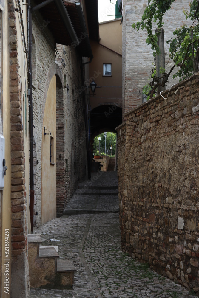 narrow street in old town Montefalco Italy