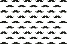 Seamless Pattern With Retro Mustache, Isolated Vector Doodle Wallpaper Background, Vector Illustration