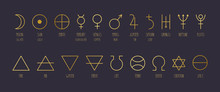 Hand-drawn Vector Set Of Alchemical Symbols In Golden Gradient.