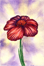 Single Watercolor Flower With Abstract Background, Postcard.