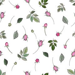 Naklejka Róże Vector floral seamless pattern with buds flowers pink roses and green leaves on white background. Hand drawn. For textile, wallpapers, print, wrapping paper. Stock illustration.
