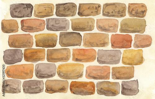 Fototapeta watercolor illustration of a wall with masonry obraz
