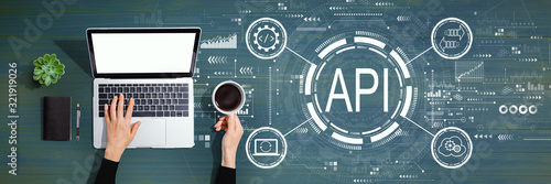 API - application programming interface concept API concept with person using a Canvas Print