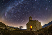 Circular Star Trails Nightscape Around An Old Church