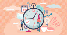 Time Management Concept, Flat Tiny Persons Vector Illustration