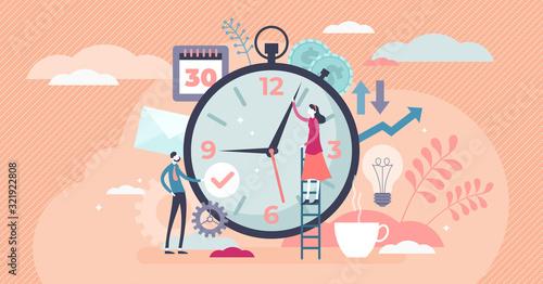 Fototapeta Time management concept, flat tiny persons vector illustration