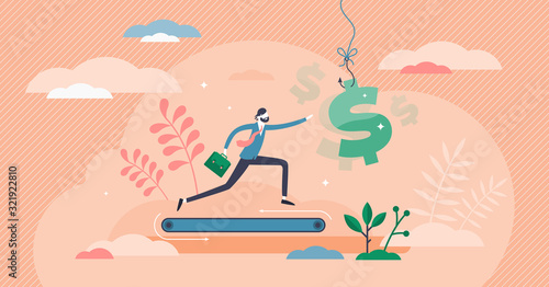 Photo Greed concept, flat tiny person vector illustration