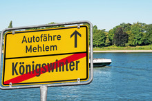Schild, Autofähre, Melem, Königswinter