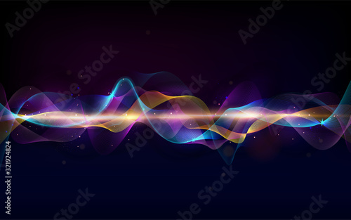 Obraz Abstract wave curve lines. Music abstract background. Equalizer for music. Dynamic colorful particles sound wave. Cool Sound Freque. Blurred abstract lights. Beautiful wave shaped array of glow. - fototapety do salonu