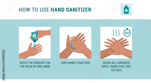 Obraz How to use hand sanitizer - fototapety do salonu
