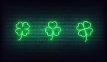 Clover Neon Icons. Set Of Green Irish Shamrock Icons For Saint Patrick's Day