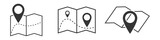 Set of outline map symbols. Vector location icon