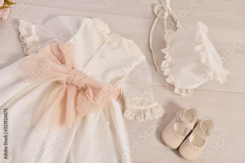 Obraz na plátně christening baby dress