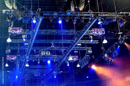 Photo Stage construction with trusses, loudspeakers and stage lighting