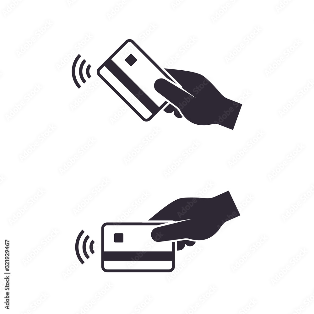 Fototapeta Contactless payment, Hand with credit bank card. NFC concept icon. Vector isolated symbol set